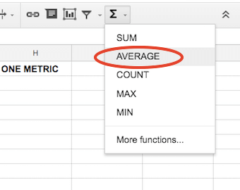 google spreadsheet calculate average